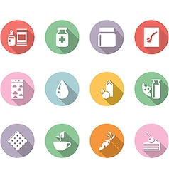 icon set gastronomy color with long shadow vector image vector image