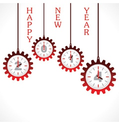 New year greeting 2014 with gear vector image