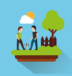 two man palying with football ball with landscape vector image vector image
