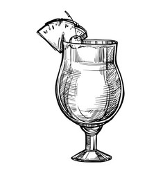 alcoholic cocktail hand drawn sketch vector image