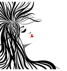 heart lips girl vector image