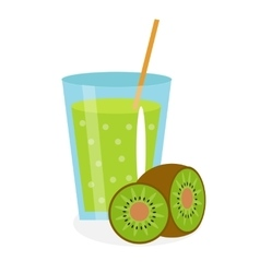 Kiwi juice in a glass Fresh isolated on white vector image vector image