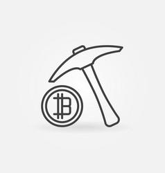 pickaxe with bitcoin icon minimal vector image vector image