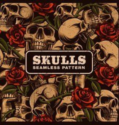 skull with roses seamless pattern vector image