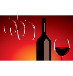 wine glasses and bottle vector image