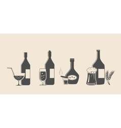Alcohol black icons vector image