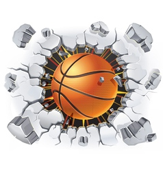 Basketball and Old Plaster wall damage vector image vector image
