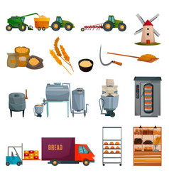 Bread production set vector