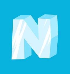 letter n ice font icicles alphabet freeze vector image