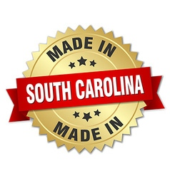 made in South Carolina gold badge with red ribbon vector image