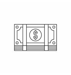 Packed dollars money icon outline style vector image vector image