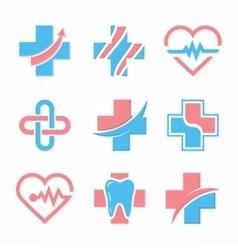 Set of medical cross logo Pharmacy logo design vector image
