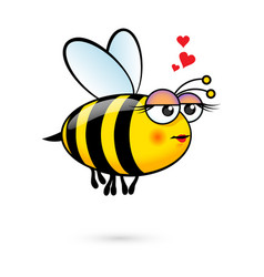 a friendly cute female bee in love vector image vector image