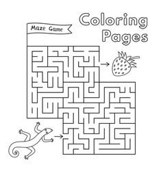 cartoon lizard maze game vector image vector image