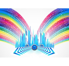 City with colorful rainbow vector image vector image