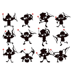 cute cartoon style of cupid silhouettes vector image vector image