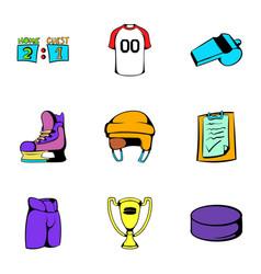 hockey icons set cartoon style vector image vector image