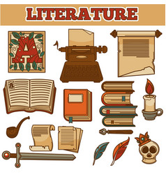 literature old vintage books and writer quill ink vector image