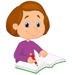 Little girl cartoon writing on a book vector image
