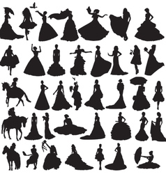 many silhouettes of brides in different situations vector image vector image