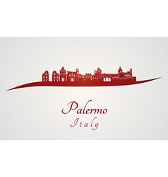Palermo skyline in red vector image vector image