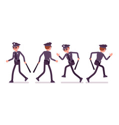 young policeman walking and running vector image vector image