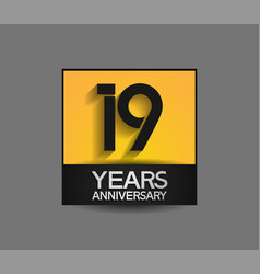19 years anniversary in square yellow and black vector