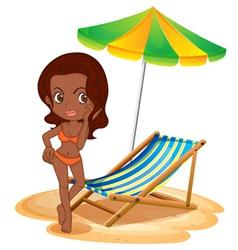 A tan lady at the beach vector