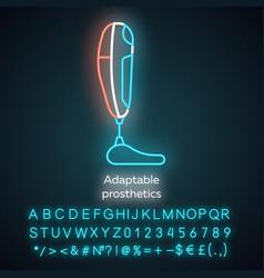 Adaptable prosthetics neon light icon body part vector