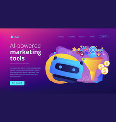 Ai-powered marketing tools concept landing page vector