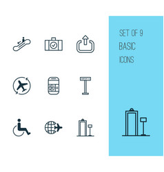 Airport icons set with logout airplane direction vector