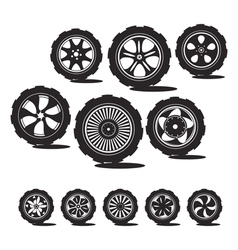 alloy wheels and tires vector image