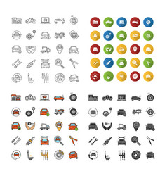 Auto workshop icons set vector
