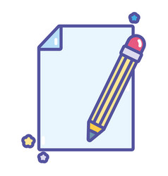 Back to school education paper and pencil vector
