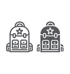 Backpack line and glyph icon camping and travel vector