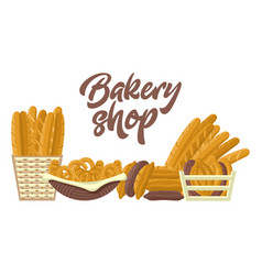 Bakery shop set with different kinds of bread vector