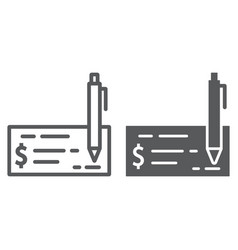 Bank check line and glyph icon finance banking vector