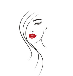 beautiful woman face logo vector image