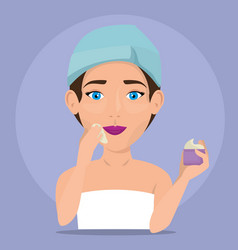 beautiful woman in treatment facial vector image