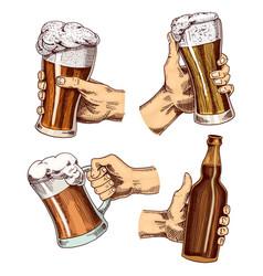 Beer glass in hand cheers toast mug or bottle vector