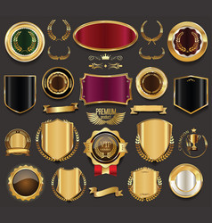Blank golden frame badge and label collection 5 vector