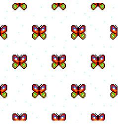 Bright butterfly cartoon pixel art seamless vector