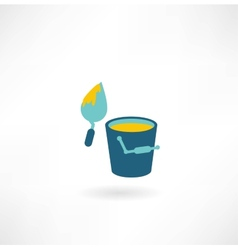 bucket construction trowel icon vector image vector image