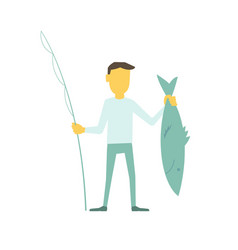 Businessman fisherman with a fishing rod caught vector