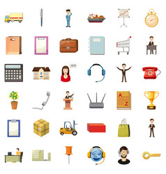 Businesswoman icons set cartoon style vector