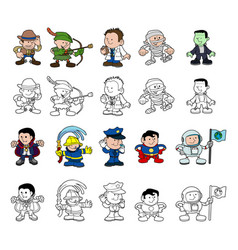 Cartoon characters set vector