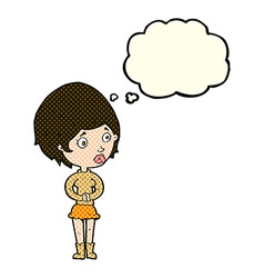 Cartoon concerned woman with thought bubble vector