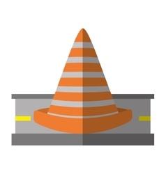 cartoon road cone caution sign vector image