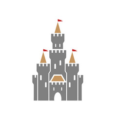 castle symbol icon with flags on white background vector image