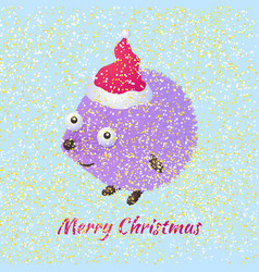 Christmas hedgehog vector